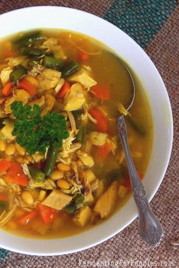 Cold and flu fighting chicken soup with turmeric and garlic