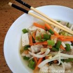 Pork belly kimchi soup with rice noodles and tofu. An easy one-pot meal