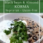 Delicious vegetarian korma with black beans, almonds and mushrooms