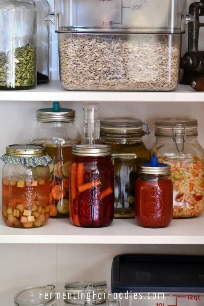 Where should you store ferments during fermentation to avoid cross contamination.