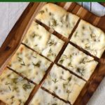Sourdough focaccia with 6 different toppings! Herb, garlic, apple, fennel, cheese, onions and more!