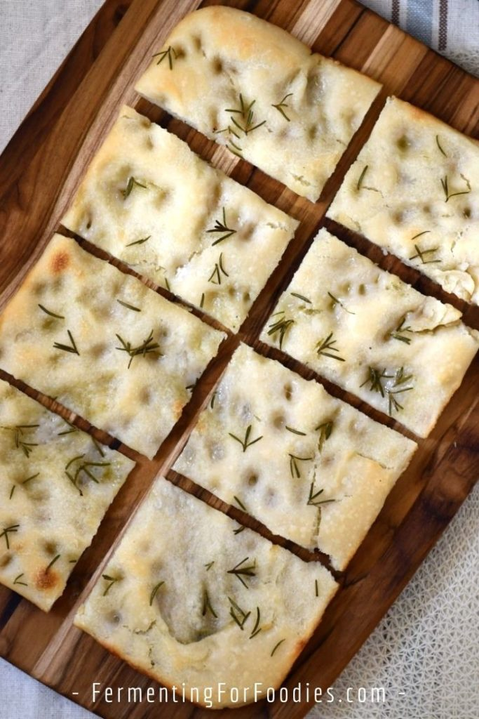 Sourdough leavened focaccia is chewy and delicious.